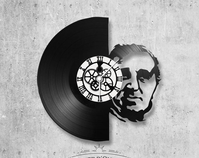 Wall clock vinyl 33 rounds hand made / Charles Aznavour, singer, Sardou, Halliday theme