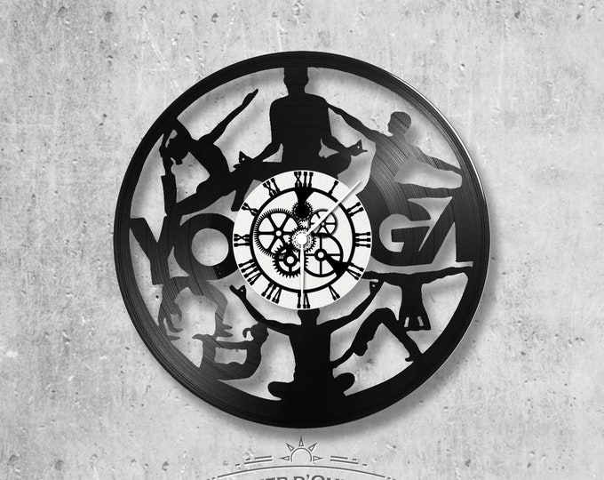 33-turn handmade vinyl wall clock/yoga theme, sports, detente, reflexology