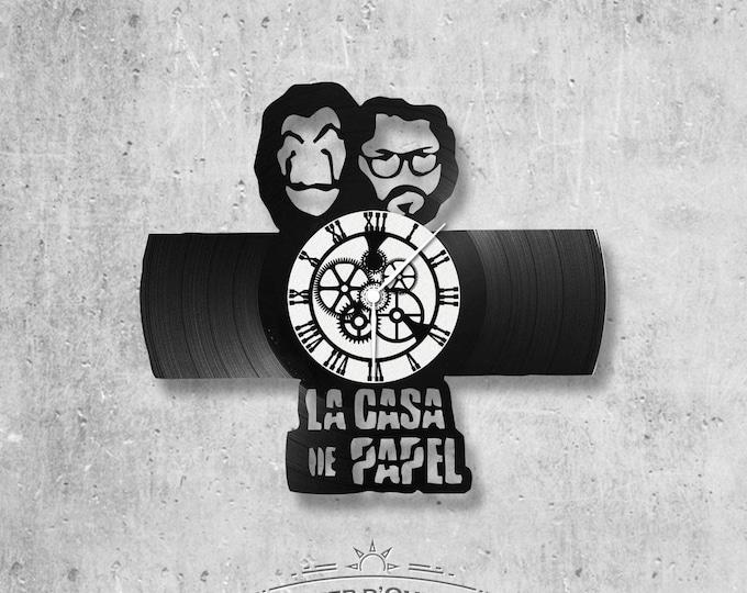 Vinyl record clock 33 rounds theme Casa del papel