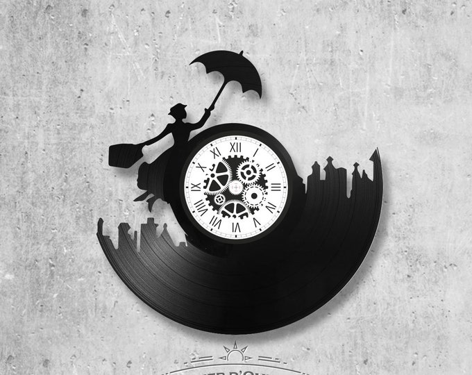 Vinyl record clock 33 rounds Mary Poppins theme