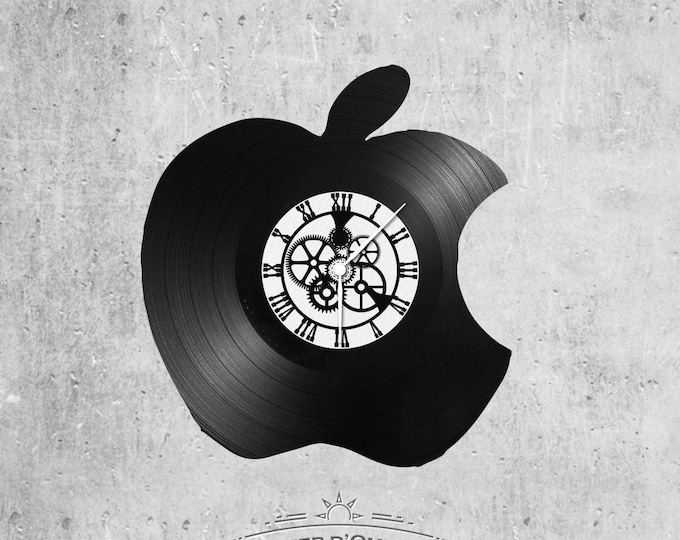 Vinyl disc clock 33 rounds Apple Apple Apple theme