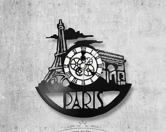 Vinyl record clock 33 towers Paris theme