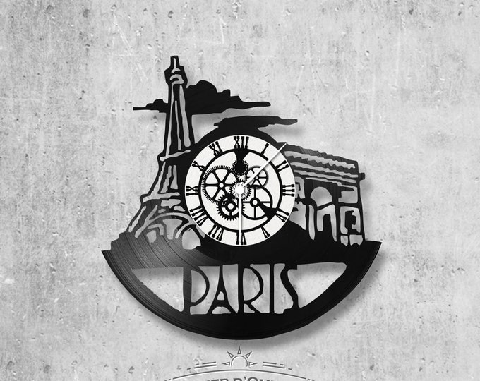Vinyl 33 clock towers Paris theme