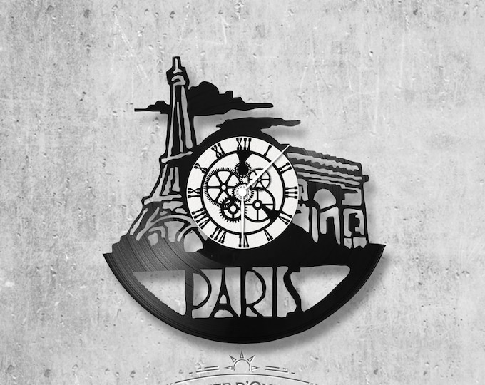 Vinyl record clock 33 towers Paris theme