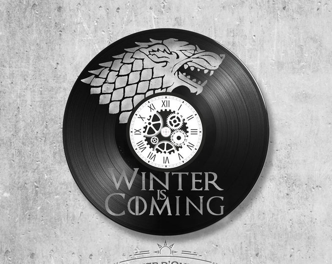 Clock vinyl disc 33 rounds theme Game of throne Winter is Coming