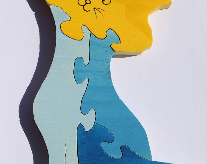Raw or painted cat 3d wooden puzzle