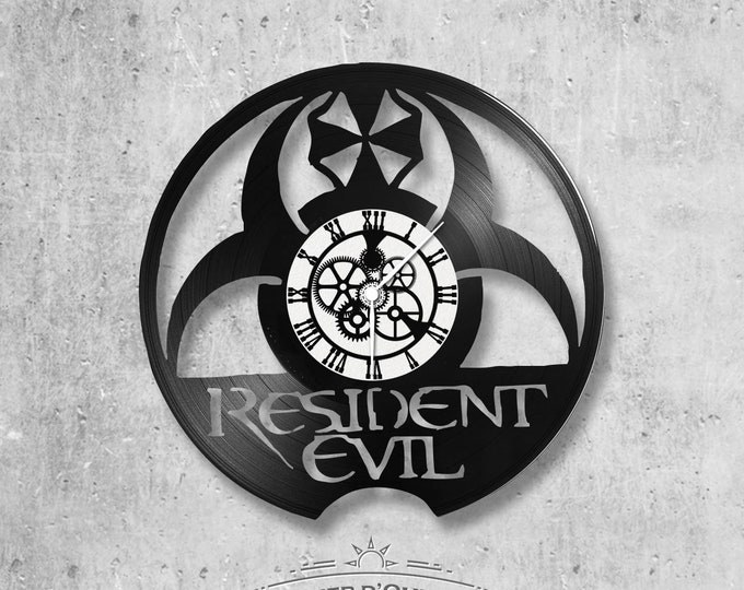 Wall clock vinyl 33 rounds hand made / theme Resident evil movie, zombie movies, games, video