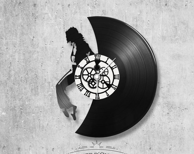 Clock vinyl record 33 rounds theme Mickael Jackson profile