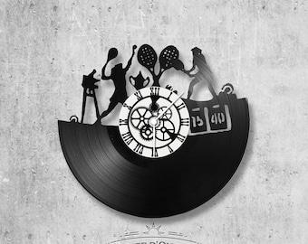 Horloge en disque vinyle 33 tours thème Tennis