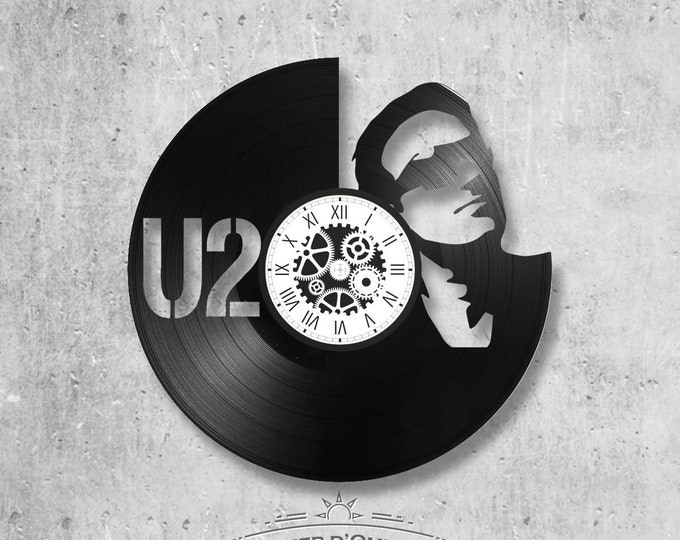 Clock on vinyl disc 33 rounds theme U2 music GROUP BONO