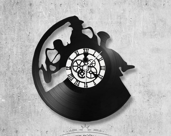 Vinyl record clock 33 rounds jazz theme duo