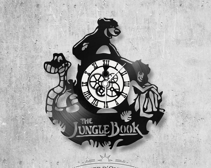 Wall clock vinyl 33 rounds hand made / theme of the jungle book character, walt disney.