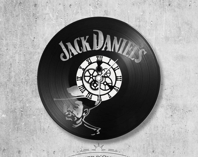 Vinyl record clock 33 rounds Jack Daniel's theme