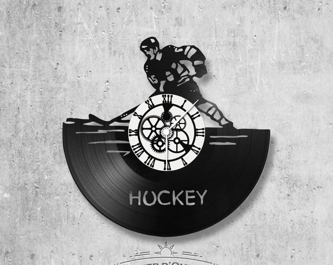 Wall clock vinyl 33 rounds hand made / theme, sport Hockey, skating, ice