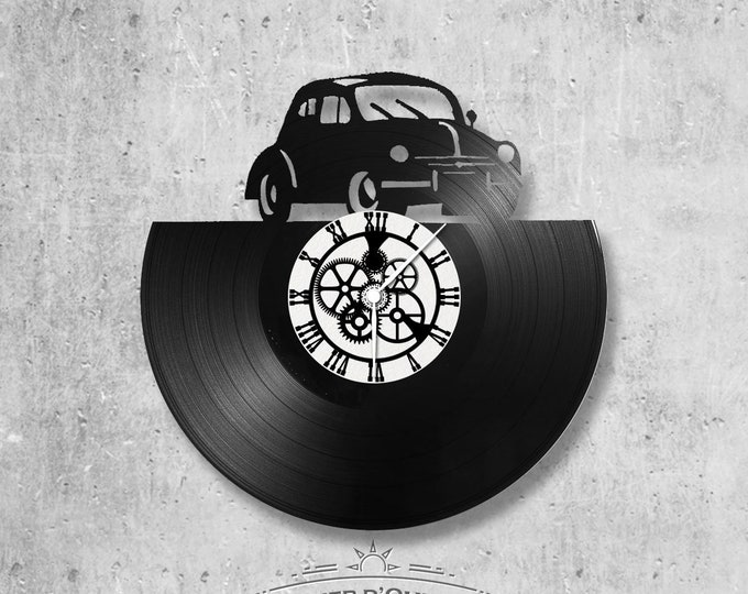 33-turn handmade vinyl wall clock/4L theme, car, renault, trophy