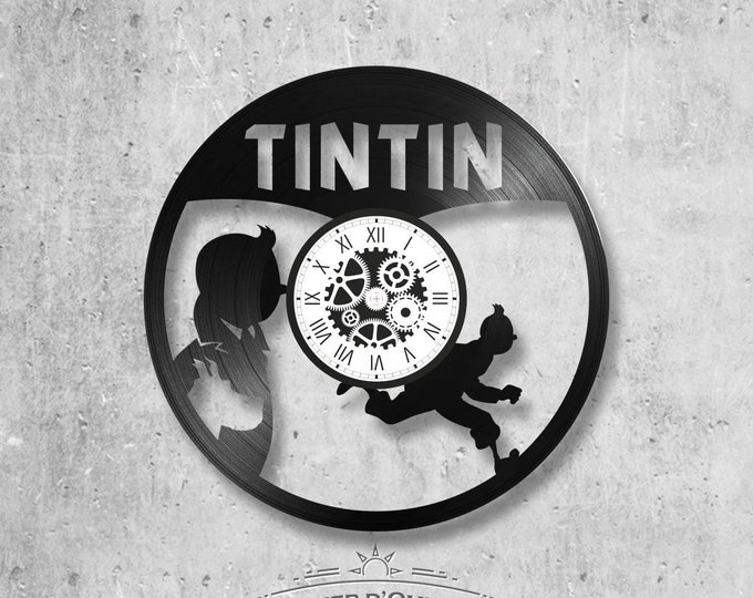 Vinyl record clock 33 towers Tintin theme