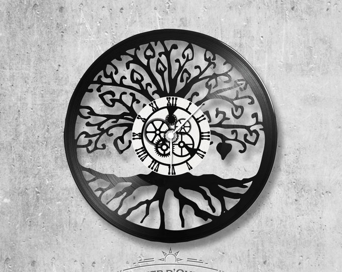 Wall clock vinyl 33 rounds hand made / themed tree of life symbol, Earth