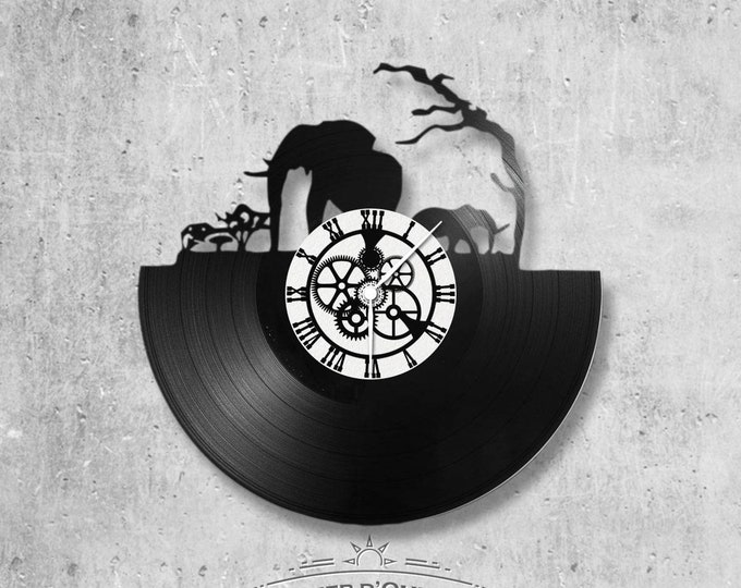 Vinyl record clock 33 rounds Savane theme