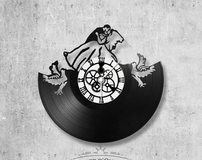 33-turn handmade vinyl wall clock/theme Wedding, couple, LGBT, union