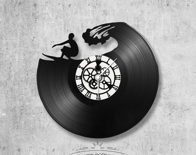 Vinyl record clock 33 rounds Surf theme