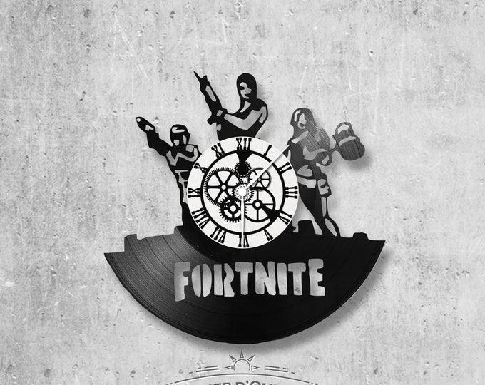 Wall clock vinyl 33 rounds hand made / theme Fortnite, video games, network