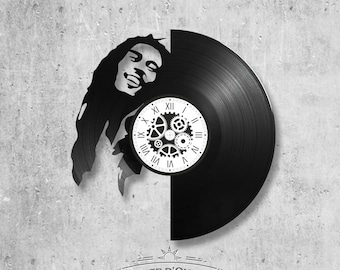 Vinyl record clock 33 rounds Bob Marley theme