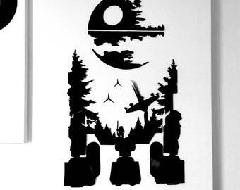Star Wars vinyl canvas r2d2 Black Star