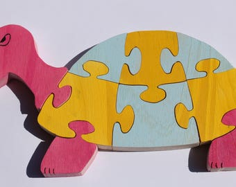 Turtle 3d wooden puzzle: raw or painted