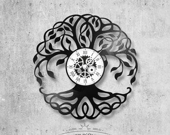 33-turn handmade vinyl wall clock /theme Tree of Life, symbol, earth