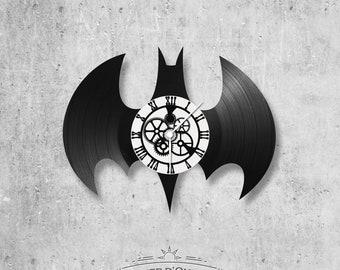 Vinyl disc clock 33 rounds Batman logo theme