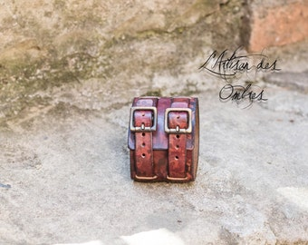 Strength leather handmade bracelet red marked