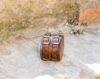 Strength leather handmade bracelet Brown marked