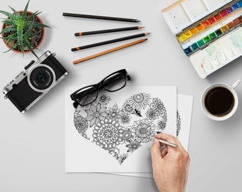 Colour-Me-In Floral Heart Printable PDF - Instant Download - Print and Colour