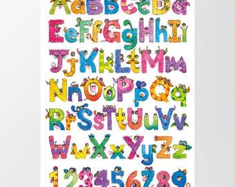 Instant Digital Download Typographic Illustration Poster Art - 'Monster Alphabet'