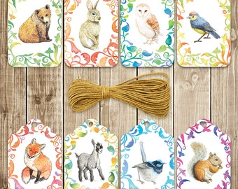 Colourful Woodland Party Gift Tags -  Printable Download PDF - DIY Print and Make