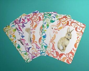 Memory Card Game Printable PDF - Woodland Series - Rabbit, Bird, Squirrel, Fox, Blue Wren, Bear, Owl, Goat - Print and Make