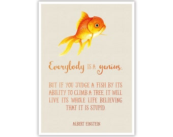 Watercolour Fish Motivational Quote - Instant Digital Download - Large Printable Poster Artwork - Wall Art Nursery Home Office