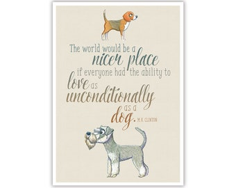 Watercolour Dogs Love Quote - Instant Digital Download - Large Printable Poster Artwork - Wall Art Nursery Home Office