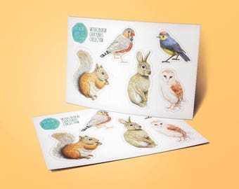 Watercolour Creatures Sticker Sheet - Decorative Planner Stickers for all planners / bullet journals woodland animals