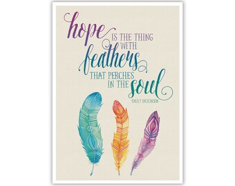 Watercolour Feathers and Quote - Instant Digital Download - Large Printable Poster Artwork - Wall Art Nursery Home Office