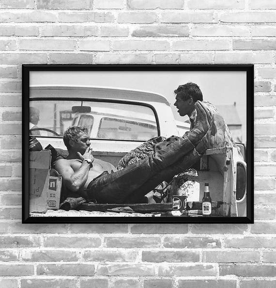 affiche steve mcqueen garage atelier vintage limited etsy. Black Bedroom Furniture Sets. Home Design Ideas