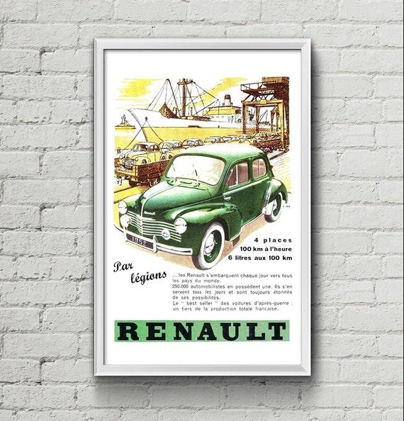 affiche renault 4cv 1952 garage atelier vintage limited