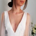 Bridal cape/Wedding cape/Bridal cape with pearls/Pear wedding cape/Tulle wedding cape/Bridal cover up/SWAROVSKI pearls cape | PEARLY LOVE