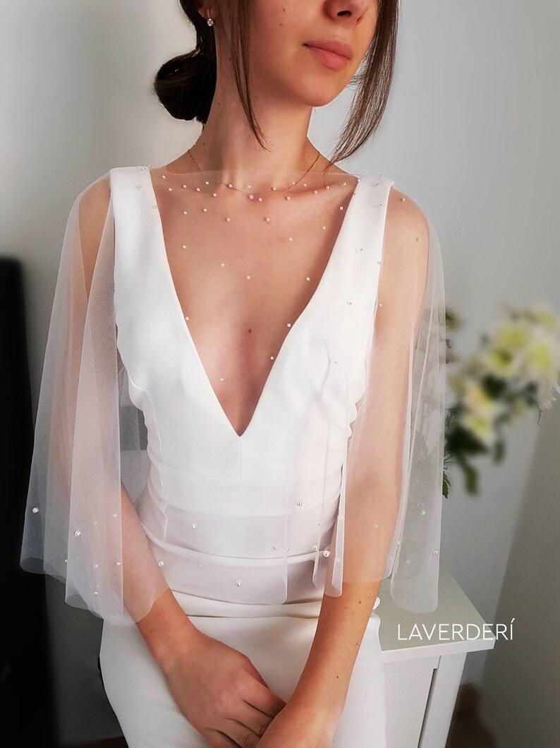 Bridal cape/Wedding cape/Bridal cape with pearls/Pear wedding image 0