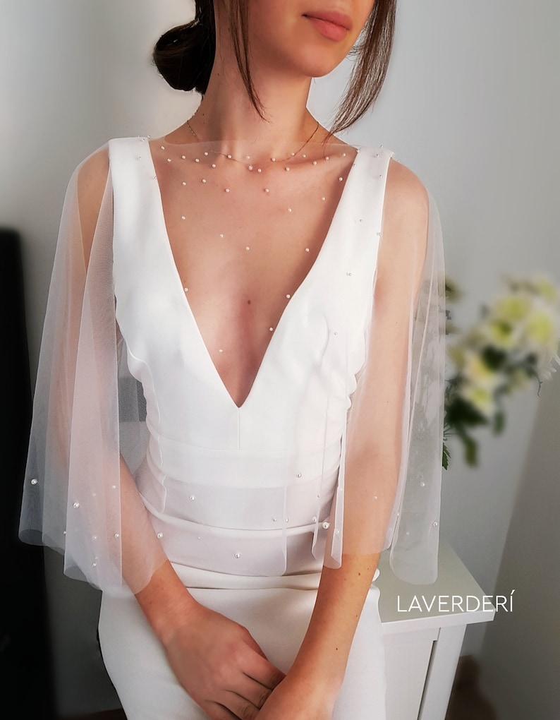 Pearl bridal cape  Wedding cover up  Tulle bridal cape with image 1