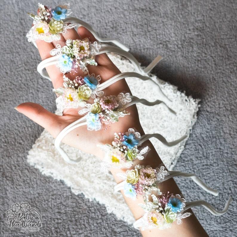 flower tieback Spring Newborn photography photo props  Delicate Headband Baby Girl gift