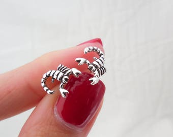 925 Sterling Silver Scorpio Stud Earrings, Scorpio Earrings, Scorpio Studs, Scorpio Jewelry, Animal Jewelry,  Zodiac Jewelry, Oxidized Studs