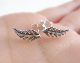 925 Sterling Silver Feather Earrings, Feather Jewelry, Boho Earrings, Boho Jewelry, Festival Earrings, Boho Feather Earrings, Feather Studs