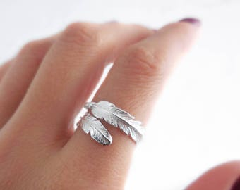 925 Sterling Silver Feather Adjustable Ring, Adjustable Ring, Feather Ring, Boho Ring, Bohemian Rings, Gift for Her, Boho Feather Ring
