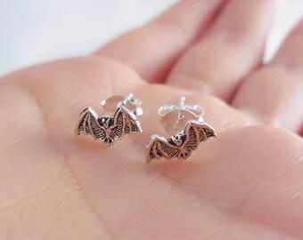 Oxidized 925 Sterling Silver Bat Stud Earrings, Bat Earrings, Bat Jewelry, Oxidized Earrings, Halloween, Halloween Gift, Artisan Jewelry